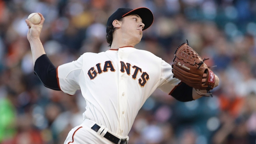 San Francisco Giants starting pitcher Tim Lincecum throws against the Oakland Athletics in the first inning of a baseball game Wednesday, May 29, 2013, in San Francisco. (AP Photo/Eric Risberg)