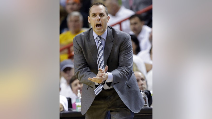 Indiana Pacers coach Frank Vogel applauds during the second half against the Miami Heat in Game 5 in the NBA basketball playoffs Eastern Conference finals, Thursday, May 30, 2013, in Miami. (AP Photo/Lynne Sladky)