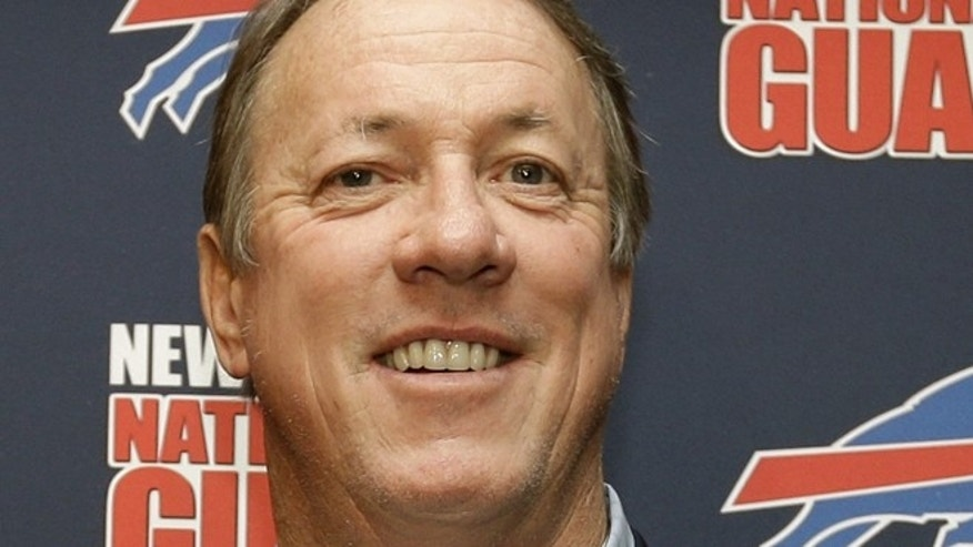 April 26, 2013: Buffalo Bills Hall of Fame quarterback Jim Kelly smiles during a news conference at Ralph Wilson Stadium in Orchard Park, N.Y. Kelly says he has been diagnosed with cancer in his upper jaw bone and will have surgery on June 7. (AP)