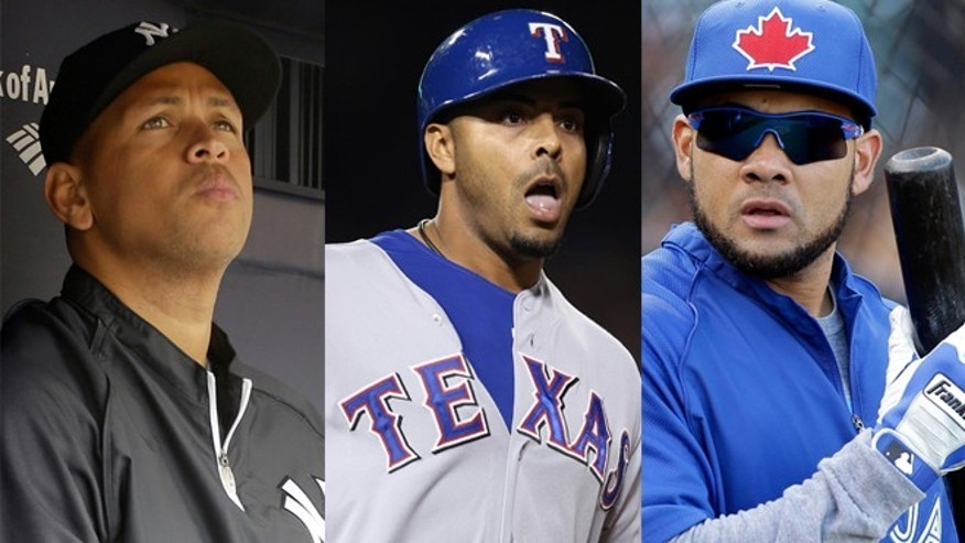 FILE: From left, Alex Rodriguez, Ryan Braun, Nelson Cruz and Melky Cabrera, are shown.