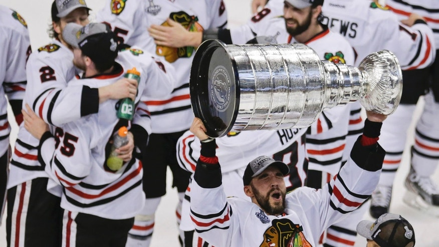 Chicago Blackhawks defenseman Michal Rozsival, of the Czech Republic, hoists the Stanley Cup after the Blackhawks beat the Boston Bruins 3-2 in Game 6 of the NHL hockey Stanley Cup Finals Monday, June 24, 2013, in Boston. (AP Photo/Charles Krupa)