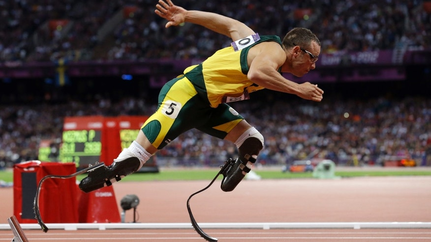 Aug.  5, 2012: South Africa's Oscar Pistorius starts in the men's 400-meter semifinal during the athletics in the Olympic Stadium at the 2012 Summer Olympics in London. (AP/Anja Niedringhaus, File)