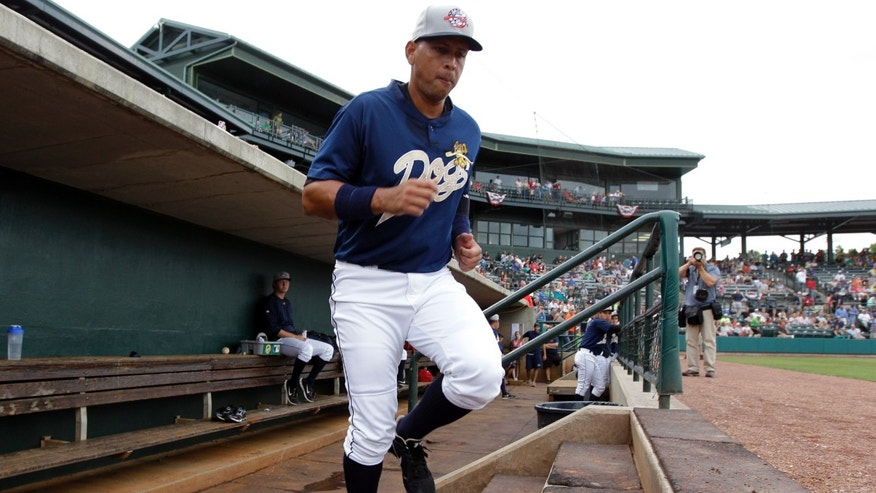 New York Yankees third baseman Alex Rodriguez takes the field during the first inning in his first rehab baseball game with the Charleston RiverDogs, against the Rome Braves in Charleston, S.C., Tuesday, July 2, 2013. (AP Photo/Chuck Burton)