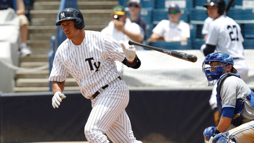 New York Yankees' Alex Rodriquez drops the bat as he heads for first with a single in the sixth inning for the Tampa Yankees against the Dunedin Blue Jays in a minor league baseball rehab game in Tampa, Fla., Wednesday, July 10, 2013. (AP Photo/Scott Iskowitz)