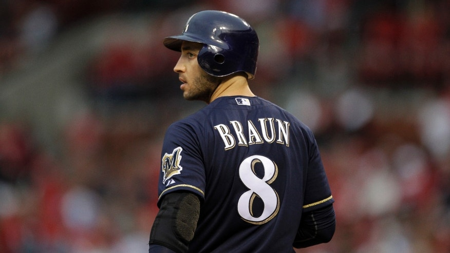 April 27, 2012: Milwaukee Brewers' Ryan Braun prepares to bat during a baseball game against the St. Louis Cardinals in St. Louis. (AP/Jeff Roberson, File)