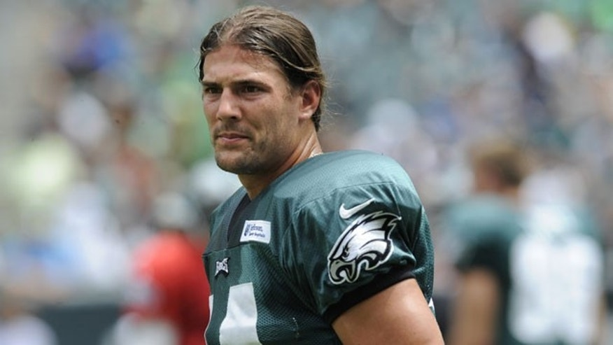 July 28, 2013: Philadelphia Eagles wide receiver Riley Cooper pauses during the NFL football team's training camp in Philadelphia. (AP Photo)