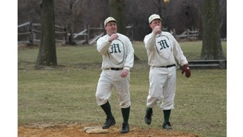 """Even Stephen"" Sullivan and ""Diamond"" Jim Resseque warm up at Old Bethpage Village Restoration on Long Island."