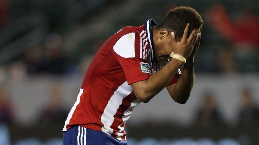 CARSON, CA - MARCH 02:  Juan Agudelo #11 of Chivas USA reacts after missing a shot against the Columbus Crew in the second half at The Home Depot Center on March 2, 2013 in Carson, California. The Crew defeated Chivas USA 3-0.  (Photo by Jeff Gross/Getty Images)