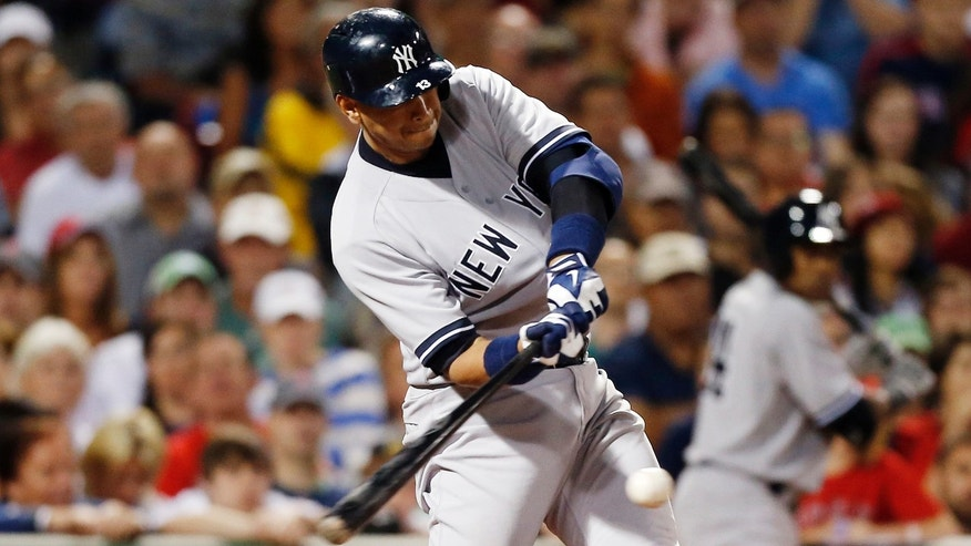 New York Yankees' Alex Rodriguez hits a single in the seventh inning of a baseball game against the Boston Red Sox, Sunday, Aug. 18, 2013, in Boston. (AP Photo/Michael Dwyer)