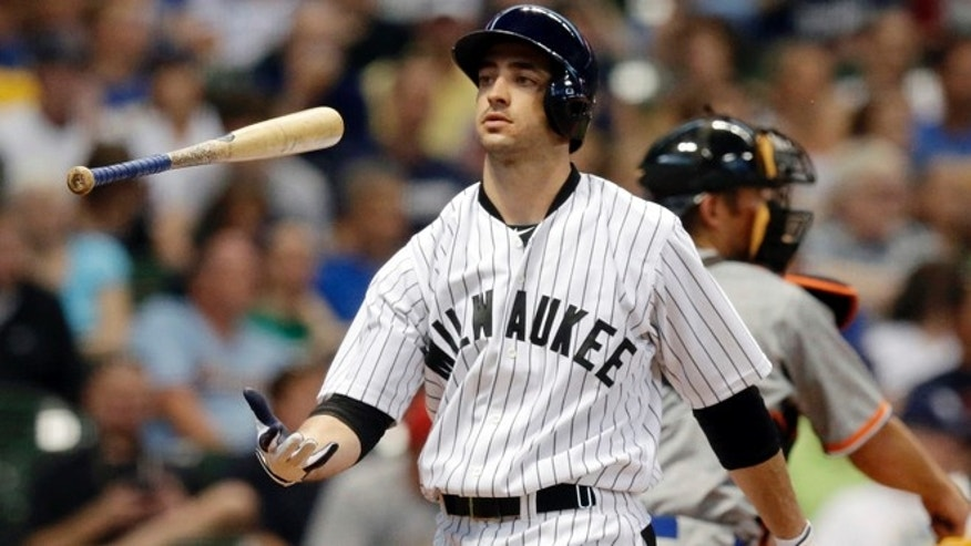 July 20, 2013:Milwaukee Brewers' Ryan Braun flips his bat after striking out during the third inning of a baseball game against the Miami Marlins in Milwaukee.