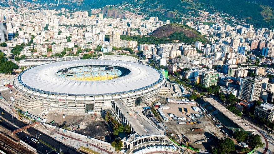 An aerial view of the Macarana stadium in Rio de Janeiro, Brazil. (Photo by Buda Mendes/Getty Images)