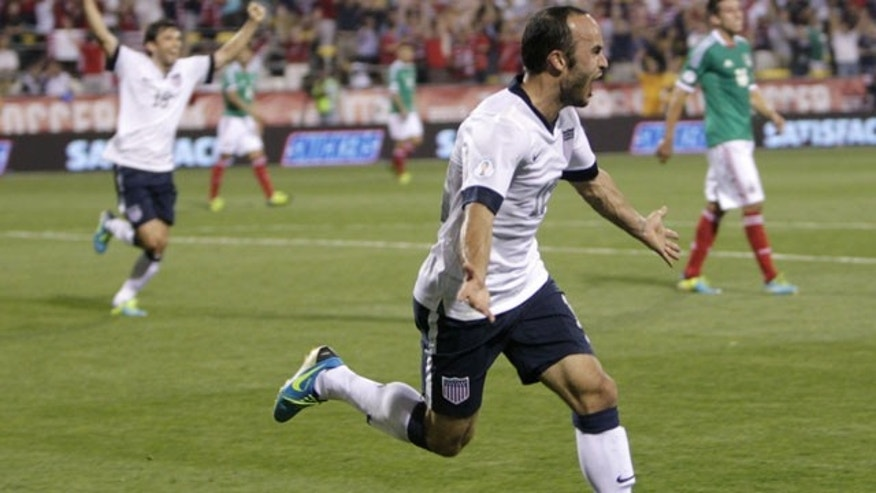 September 10, 2013: Landon Donovan celebrates his goal against Mexico during the second half of a World Cup qualifying soccer match in Columbus, Ohio. The United States defeated Mexico 2-0. (AP Photo/Jay LaPrete)