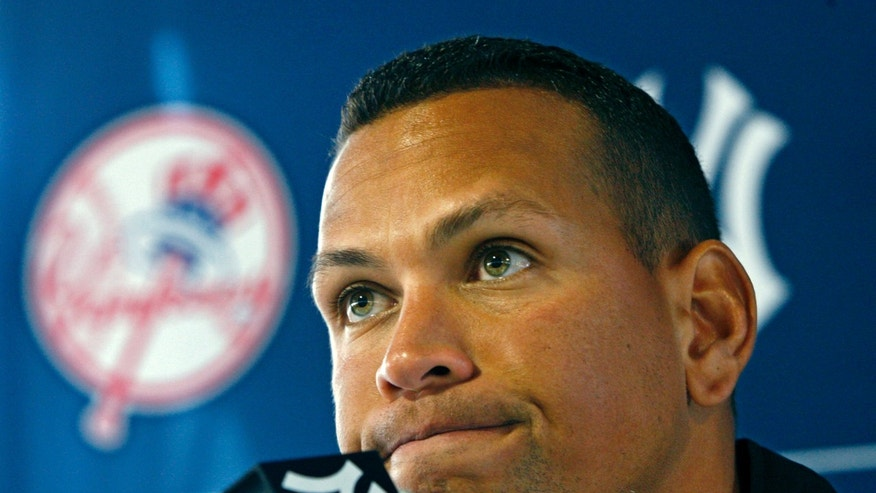 Alex Rodriguez at a news conference during baseball spring training at Steinbrenner Field in Tampa, Fla.