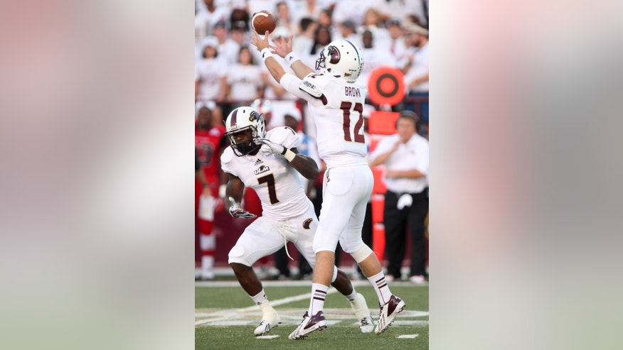 University of Louisiana at Monroe's Brayle Brown (12) gains control of a snap during an NCAA football game against Western Kentucky in Monroe, La., Thursday, Oct. 3, 2013. (AP Photo/The News-Star, Dacia Idom) NO SALES