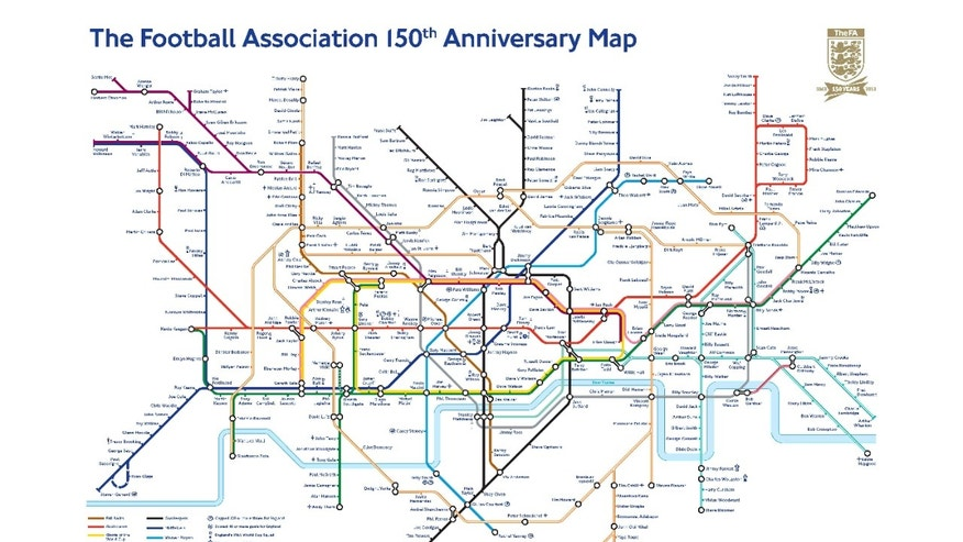 "In this image provided by The Football Association (FA) on Tuesday, Oct. 1, 2013, a limited edition map produced by the FA and Transport for London (TfL) to mark the 150th anniversaries of both organizations and plotted identically to the current London public transport map, shows the 367 stops on the transport network renamed as notable soccer players and managers. Leytonstone has been renamed ""David Beckham"" in recognition of the former England captain's birthplace. Renowned overseas players also feature, with the Circle Line featuring ""Giants of the World Cup"" including Pele, Diego Maradona and Michel Platini. (AP Photo/TfL, FA)"
