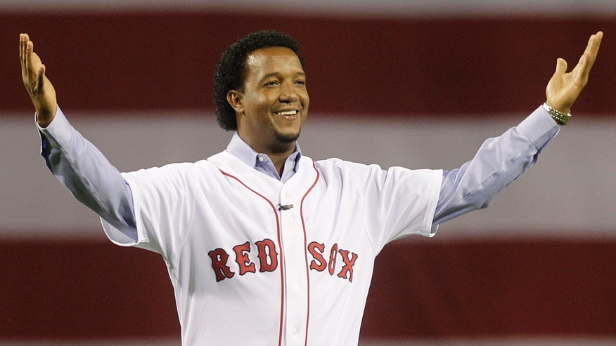Pedro Martinez greets the Boston crowd on April 4, 2010.
