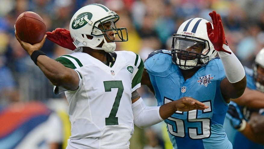 Tennessee Titans linebacker Zach Brown (55) pressures New York Jets quarterback Geno Smith (7) in the third quarter of an NFL football game on Sunday, Sept. 29, 2013, in Nashville, Tenn. (AP Photo/Mark Zaleski)