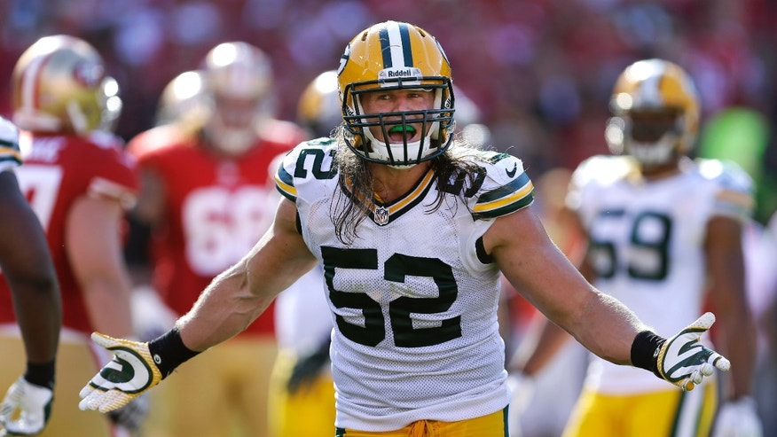 FILE - In this Sept. 8, 2013, file photo, Green Bay Packers linebacker Clay Matthews (52) gestures during an NFL football game against the San Francisco 49ers in San Francisco. The Packers' bye week did wonders for Matthews and his sore hamstring. (AP Photo/Ben Margot, File)