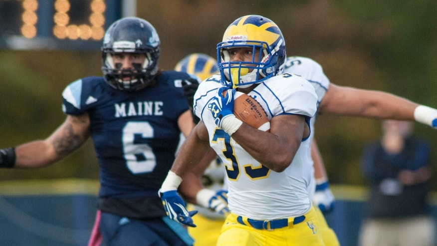Delaware running back Jalen Randolph (33) carries the ball for a gain during the first half of an NCAA college football game against Maine in Orono, Maine, Saturday, Oct. 5, 2013. (AP Photo/Michael C. York)