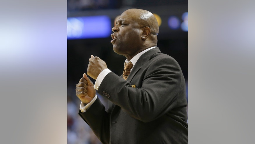 FILE - In this March 15, 2013 file photo, Florida State coach Leonard Hamilton reacts during the second half of an NCAA college basketball game against North Carolina at the Atlantic Coast Conference men's tournament in Greensboro, N.C. Hamilton has been coaching Florida State's basketball team since 2002 and had four consecutive NCAA appearances before the Seminoles missed the 2013 to tournament.  (AP Photo/Gerry Broome, File)