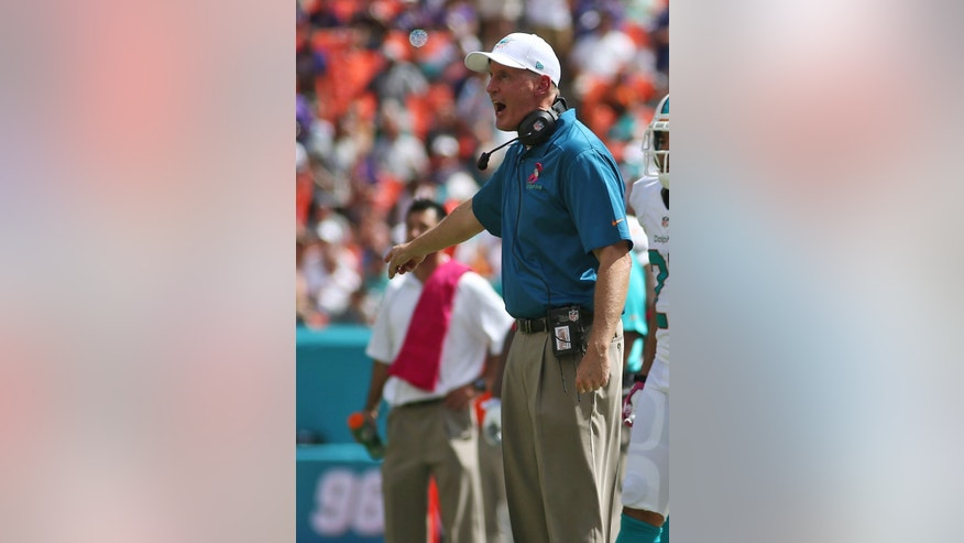 Miami Dolphins head coach Joe Philbin yells from the sidelines during the first half of an NFL football game against the Baltimore Ravens, Sunday, Oct. 6, 2013, in Miami Gardens, Fla. (AP Photo/J Pat Carter)