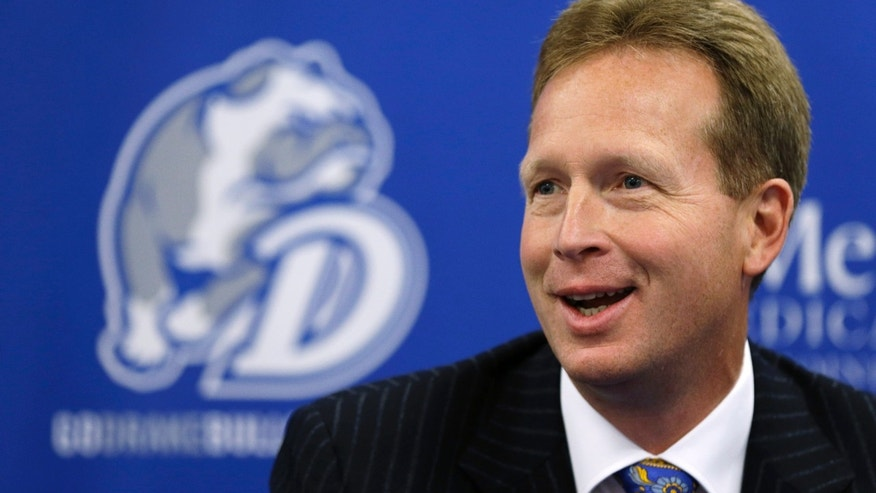 Drake men's basketball coach Ray Giacoletti speaks during the team's media day, Tuesday, Oct. 8, 2013, in Des Moines, Iowa. Giacoletti is in his first year as coach of the NCAA college basketball team. (AP Photo/Charlie Neibergall)