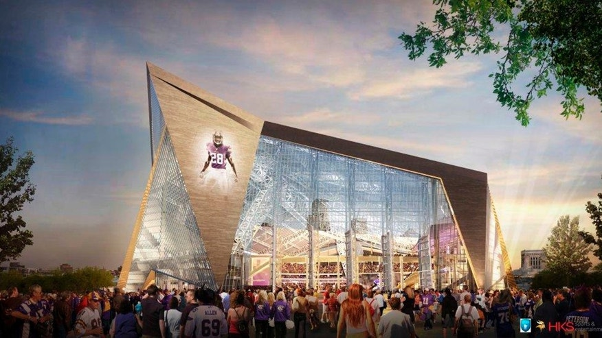 File - In this file artists rendering released May 13, 2013, by the Minnesota Sports Facilities Authority and the Minnesota Vikings is the new Minnesota Vikings stadium. Minnesota Viking season tickets will come at an average cost of $2,500 in the new building. The ticket licenses cover three-quarters of the building's 65,000 seats, the Minnesota Sports Facilities Authority revealed Thursday, Oct. 3, 2013. (AP Photo/HKS Sports and Entertainment Group, File)