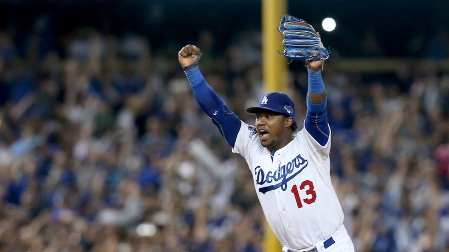 Hanley Ramirez celebrates as the Dodgers defeat the Atlanta Braves 4-3 on October 7, 2013 in Los Angeles, California.