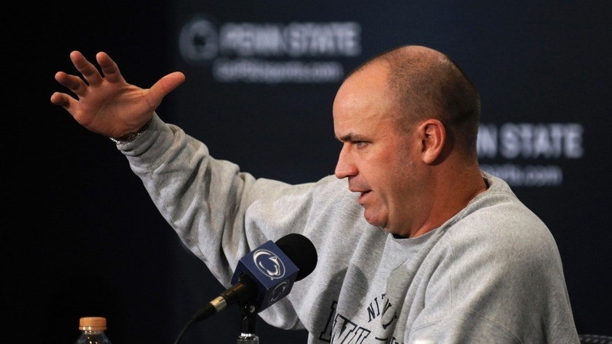Penn State coach Bill O'Brien speaks at his weekly NCAA college football press conference, in State College, Pa., Tuesday, Oct. 8, 2013.  Penn State plays Michigan on Saturday in State College.  (AP Photo/Centre Daily Times, Nabil K. Mark ) MANDATORY CREDIT; MAGS OUT