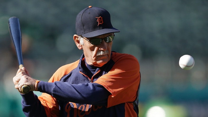 Detroit Tigers manager Jim Leyland hits to infielders before Game 5 of an AL championship series against the Oakland Athletics in Oakland, Calif., Thursday, Oct. 10, 2013. (AP Photo/Ben Margot)