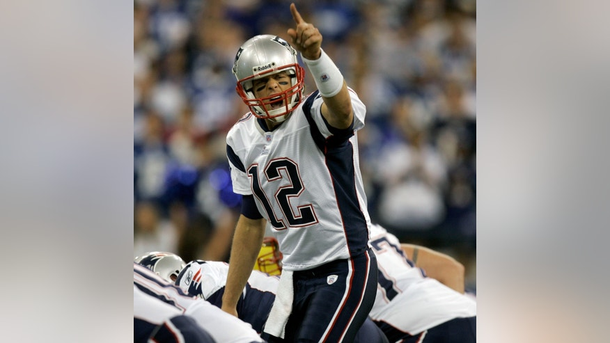 FILE - In this Nov. 4, 2007 file photo, New England Patriots quarterback Tom Brady (12) calls out a play in the first quarter of an NFL football game against the Indianapolis Colts, in Indianapolis. As good as the nearly perfect New England Patriots were in 2007, 16-0 during the regular season and 18-1 overall, they never were as big of a favorite as Peyton Manning's Broncos are against the visiting Jaguars: Odds-makers started Denver off as a 28-point pick. (AP Photo/Jeff Roberson)