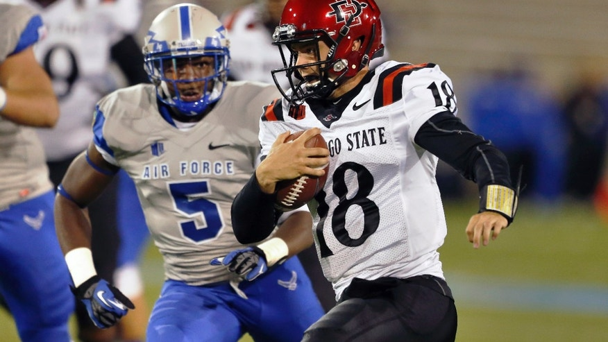 San Diego State quarterback Quinn Kaehler runs with the ball pursued by Air Force defensive back Dexter Walker during the first quarter of an NCAA college football game at the Air Force Academy, Colo. Thursday, Oct. 10, 2013. (AP Photo/Brennan Linsley)