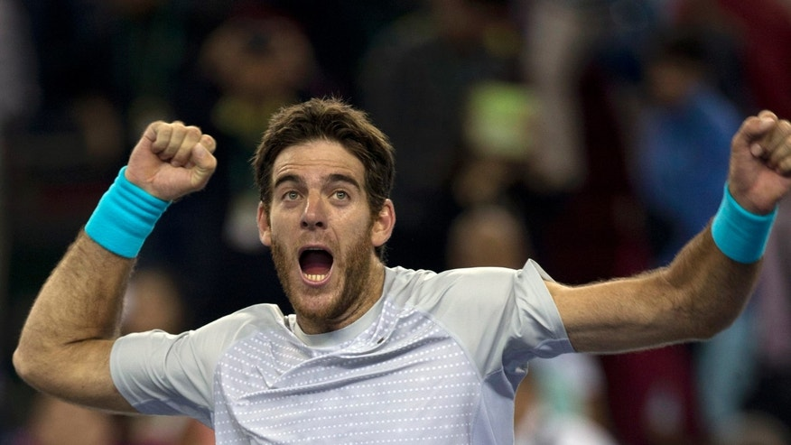 Argentina's Juan Martin del Potro celebrates his win over Spain's Rafael Nadal during a semifinal match for the Shanghai Masters tennis tournament at the Qizhong Forest Sports City Tennis Center in Shanghai, China, Saturday, Oct. 12, 2013. Del Potro won 6-2, 6-4. (AP Photo/Ng Han Guan