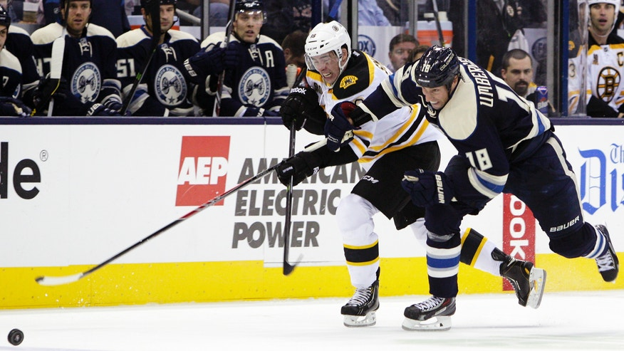 Boston Bruins' Reilly Smith, left, and Columbus Blue Jackets' RJ Umberger chase a loose puck during the second period of an NHL hockey game Saturday, Oct. 12, 2013, in Columbus, Ohio. (AP Photo/Jay LaPrete)