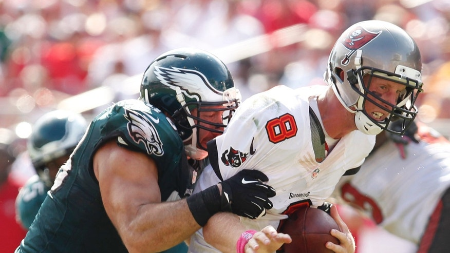 Philadelphia Eagles' Connor Barwin sacks Tampa Bay Buccaneers' quarterback Mike Glennon in the second half of an NFL football game Sunday, Oct. 13,  2013, in Tampa, Fla. (AP Photo/Philadelphia Inquirer, Ron Cortes) TV OUT MAGS OUT