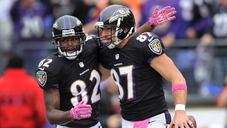 Baltimore Ravens tight end Dallas Clark, right, celebrates his touchdown with teammate wide receiver Torrey Smith (82) during the second half of an NFL football game against the Green Bay Packers in Baltimore, Sunday, Oct. 13, 2013. The Packers won 19-17. (AP Photo/Nick Wass)