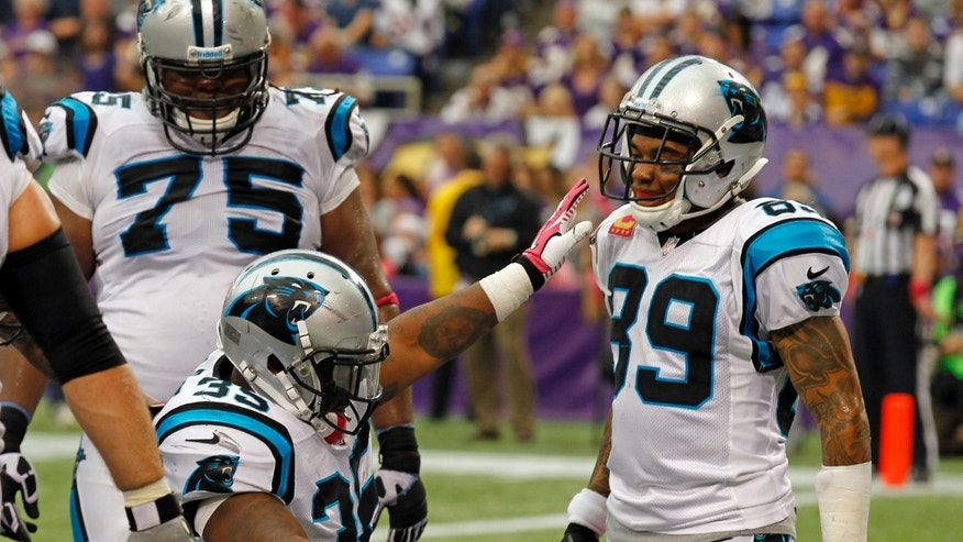 Carolina Panthers guard Chris Scott (75) and wide receiver Steve Smith (89) watch fullback Mike Tolbert celebrates a touchdown against the Minnesota Vikings during the first half of an NFL football game in Minneapolis, Sunday, Oct. 13, 2013. (AP Photo/Ann Heisenfelt)