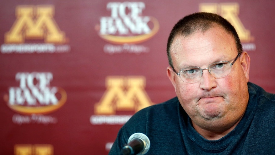 Tracy Claeys, acting head football coach at Minnesota, speaks during a news conference Thursday, Oct. 10, 2013, in Minneapolis. Minnesota coach Jerry Kill has taken an open-ended leave of absence from the team to focus on treatment and management of his epilepsy. The university announced the decision Thursday, before a news conference with athletic director Norwood Teague and Claeys, who is defensive coordinator. (AP Photo/Star Tribune, Carlos Gonzalez) ST. PAUL OUT  MINNEAPOLIS-AREA TV OUT  MAGS OUT