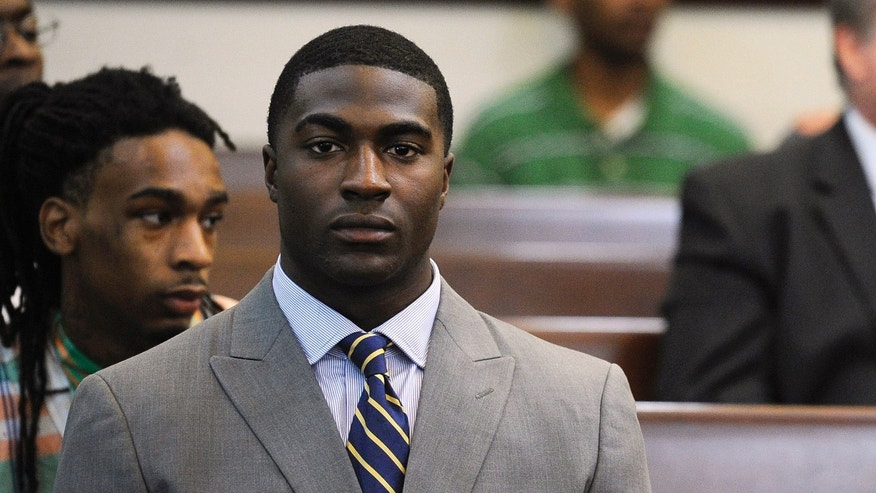 Former Vanderbilt football player Cory Batey attends a discussion hearing at the Birch Building Wednesday, Oct. 16, 2013 in Nashville, Tenn. Attorneys set a trial date of Aug. 11 on Wednesday for Batey, of Nashville, and Brandon Vandenburg, of Indio, Calif., two former Vanderbilt football players charged with raping an unconscious fellow student. Two other ex-players, Brandon Banks, of Brandywine, Md., and Tip McKenzie, of Woodville, Miss., are also charged with rape in the June 23 incident. Their cases were separated from the other two players on Wednesday.  (AP Photo/The Tennessean, Sanford Myers)