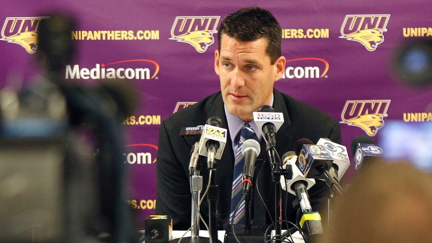 Northern Iowa head coach Ben Jacobson answers questions at the NCAA college basketball media day Wednesday, Oct. 16, 2013, in Cedar Falls, Iowa. (AP Photo/The Waterloo Courier, Matthew Putney)
