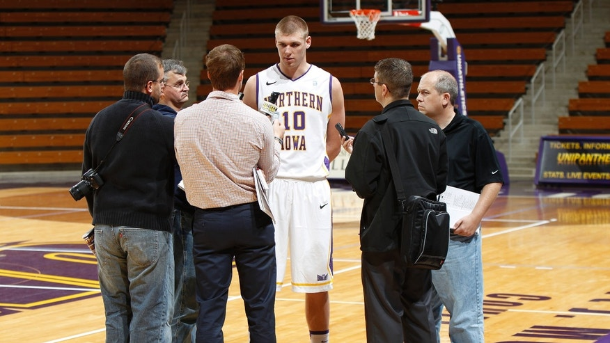Northern Iowa's Seth Tuttle speaks to the media during NCAA college basketball media day Wednesday, Oct. 16, 2013, in Cedar Falls, Iowa. (AP Photo/The Waterloo Courier, Matthew Putney)