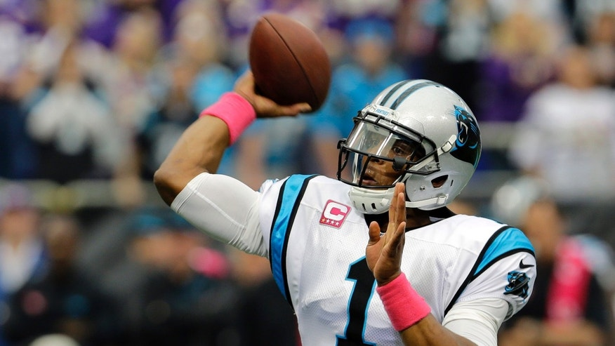Carolina Panthers quarterback Cam Newton throws a touchdown pass to wide receiver Steve Smith during the first half of an NFL football game against the Minnesota Vikings in Minneapolis, Sunday, Oct. 13, 2013. (AP Photo/Ann Heisenfelt)
