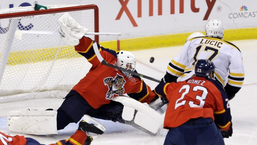 Florida Panthers goalie Tim Thomas (34) deflects a shot against the Boston Bruins in the second period of an NHL hockey game, Thursday, Oct. 17, 2013, in Sunrise, Fla. (AP Photo/Alan Diaz)