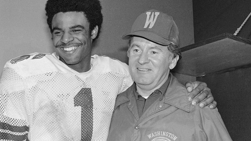 Jan. 2, 1978: University of Washington Huskies' Warren Moon (1) poses with coach Don James after the Rose Bowl in Pasadena.