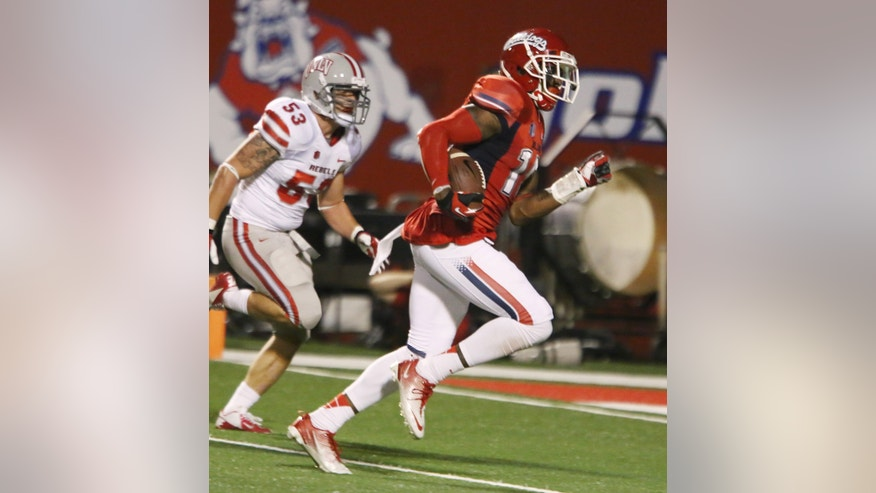 Fresno State' Davante Adams (15) heads into the end zone for one of his 3 touchdowns against UNLV during the first half of an NCAA college football game Saturday, Oct. 19, 2013, in Fresno, Calif. (AP Photo/Gary Kazanjian)