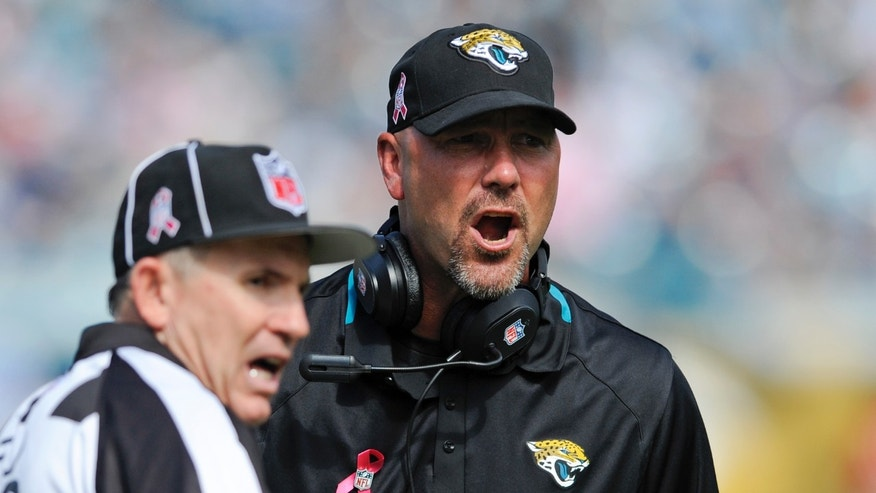 Jacksonville Jaguars head coach Gus Bradley, right, argues a call with an official during the first half of an NFL football game against the San Diego Chargers in Jacksonville, Fla., Sunday, Oct. 20, 2013.(AP Photo/Stephen Morton)