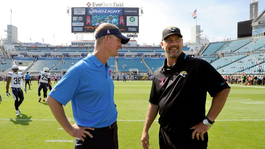 Jacksonville Jaguars head coach Gus Bradley, right, and San Diego Chargers head coach Mike McCoy, left, meet at mid field prior to an NFL football game, Sunday, Oct. 20, 2013, in Jacksonville, Fla. (AP Photo/Stephen Morton)