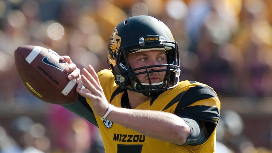 Missouri quarterback Maty Mauk throws a pass during the first quarter of an NCAA college football game against Florida Saturday, Oct. 19, 2013, in Columbia, Mo. (AP Photo/L.G. Patterson)