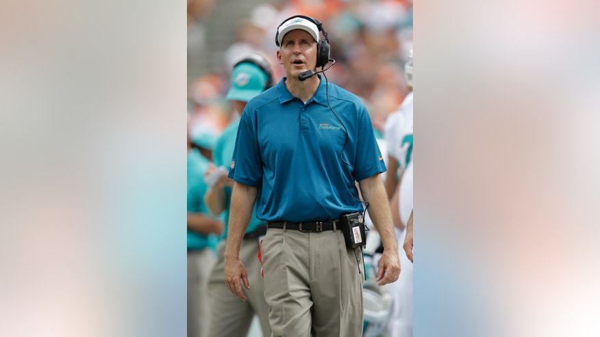 Miami Dolphins head coach Joe Philbin looks up during the first half of an NFL football game against the Buffalo Bills, Sunday, Oct. 20, 2013, in Miami Gardens, Fla. (AP Photo/Wilfredo Lee)