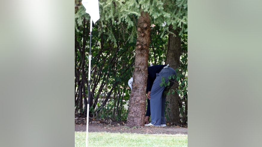 "FILE - In this Sept. 13, 2013, file photo, Tiger Woods checks his ball behind a tree behind the first green during the second round of the BMW Championship golf tournament at Conway Farms Golf Club in Lake Forest, Ill. Golf Channel analyst Brandel Chamblee says he insinuated that Tiger Woods cheated and gave the world's No. 1 player an ""F"" for his five-win season in a column he wrote for Golf.com because ""ethics matter more than athletics."" (AP Photo/Charles Rex Arbogast, File)"